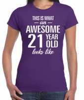 Awesome 21 year verjaardag cadeau t-shirt paars voor dames