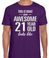 Awesome 21 year verjaardag cadeau t-shirt paars voor heren