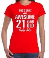 Awesome 21 year verjaardag cadeau t-shirt rood voor dames