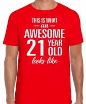 Awesome 21 year verjaardag cadeau t-shirt rood voor heren