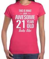 Awesome 21 year verjaardag cadeau t-shirt roze voor dames