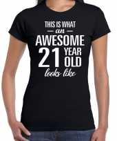 Awesome 21 year verjaardag cadeau t-shirt zwart voor dames