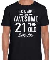 Awesome 21 year verjaardag cadeau t-shirt zwart voor heren