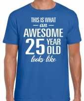 Awesome 25 year verjaardag cadeau t-shirt blauw voor heren