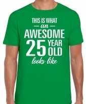 Awesome 25 year verjaardag cadeau t-shirt groen voor heren