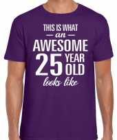 Awesome 25 year verjaardag cadeau t-shirt paars voor heren
