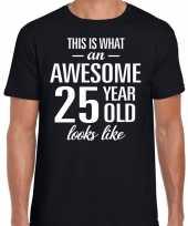 Awesome 25 year verjaardag cadeau t-shirt zwart voor heren