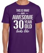 Awesome 30 year verjaardag cadeau t-shirt paars voor heren