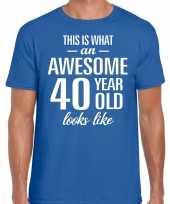 Awesome 40 year verjaardag cadeau t-shirt blauw voor heren