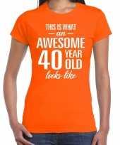 Awesome 40 year verjaardag cadeau t-shirt oranje voor dames