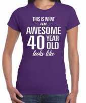 Awesome 40 year verjaardag cadeau t-shirt paars voor dames