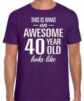Awesome 40 year verjaardag cadeau t-shirt paars voor heren