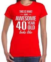 Awesome 40 year verjaardag cadeau t-shirt rood voor dames