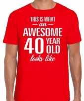 Awesome 40 year verjaardag cadeau t-shirt rood voor heren