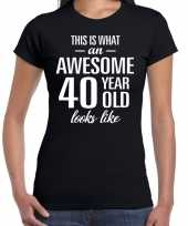 Awesome 40 year verjaardag cadeau t-shirt zwart voor dames