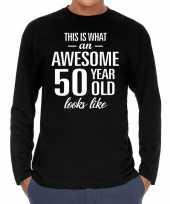 Awesome 50 year abraham verjaardag cadeau t-shirt zwart voor heren
