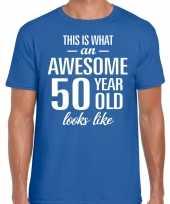 Awesome 50 year verjaardag cadeau t-shirt blauw voor heren