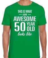 Awesome 50 year verjaardag cadeau t-shirt groen voor heren
