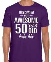 Awesome 50 year verjaardag cadeau t-shirt paars voor heren