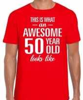 Awesome 50 year verjaardag cadeau t-shirt rood voor heren