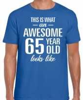Awesome 65 year verjaardag cadeau t-shirt blauw voor heren