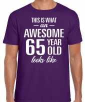 Awesome 65 year verjaardag cadeau t-shirt paars voor heren