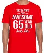 Awesome 65 year verjaardag cadeau t-shirt rood voor heren