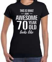 Awesome 70 year cadeau t-shirt zwart voor dames