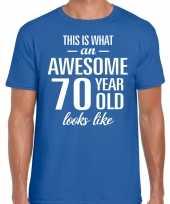 Awesome 70 year verjaardag cadeau t-shirt blauw voor heren