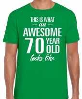 Awesome 70 year verjaardag cadeau t-shirt groen voor heren
