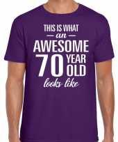Awesome 70 year verjaardag cadeau t-shirt paars voor heren