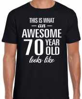 Awesome 70 year verjaardag cadeau t-shirt zwart voor heren