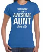 Awesome aunt cadeau t-shirt blauw voor dames