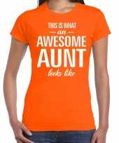 Awesome aunt cadeau t-shirt oranje voor dames
