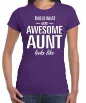 Awesome aunt cadeau t-shirt paars voor dames