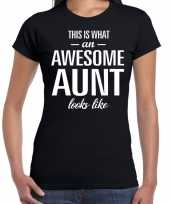 Awesome aunt cadeau t-shirt zwart voor dames