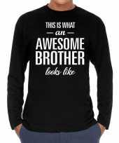 Awesome brother broer cadeau shirt zwart voor heren