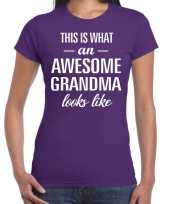 Awesome grandma cadeau t-shirt paars voor dames