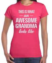 Awesome grandma cadeau t-shirt roze voor dames