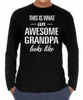 Awesome grandpa opa cadeau shirt zwart voor heren