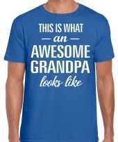 Awesome grandpa opa cadeau t shirt blauw voor heren