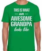 Awesome grandpa opa cadeau t shirt groen voor heren
