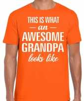 Awesome grandpa opa cadeau t-shirt oranje voor heren