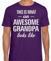 Awesome grandpa opa cadeau t shirt paars voor heren