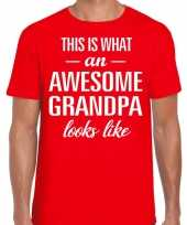 Awesome grandpa opa cadeau t shirt rood voor heren
