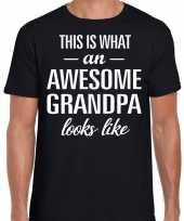 Awesome grandpa opa cadeau t shirt zwart voor heren