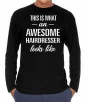 Awesome hairdresser kapper cadeau shirt zwart voor heren
