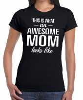 Awesome mom fun t-shirt zwart voor dames