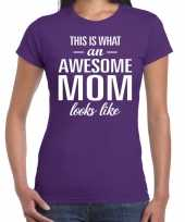 Awesome mom t shirt paars voor dames cadeau moeder