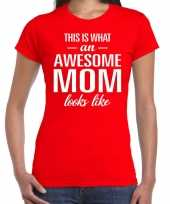 Awesome mom t shirt rood voor dames cadeau moeder